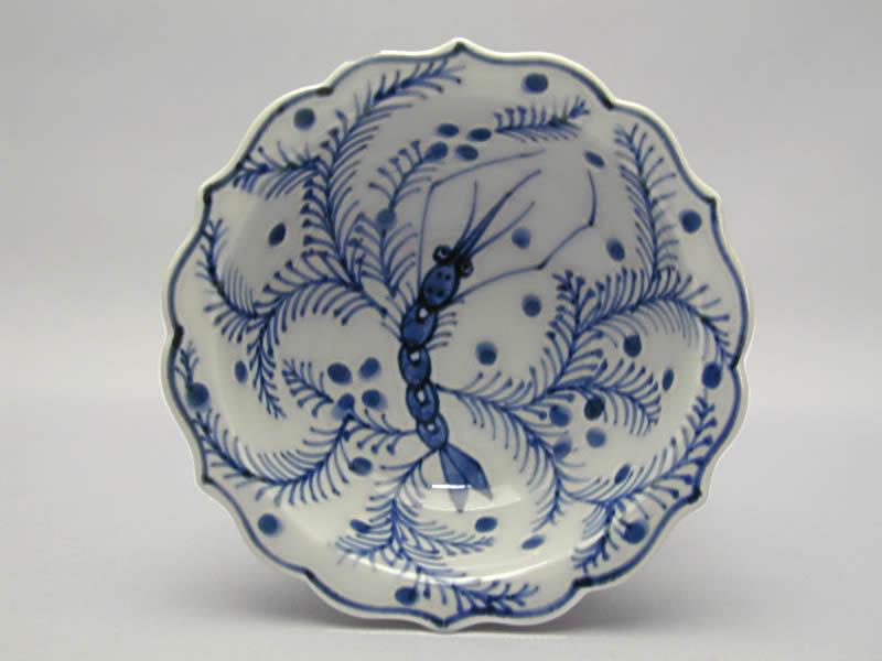 染付海老の絵正油皿