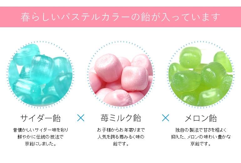 苺ミルク・サイダー・メロン飴