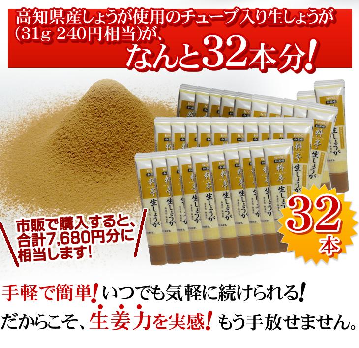 高知県産しょうが使用のチューブ入り生しょうがなんと32本分!