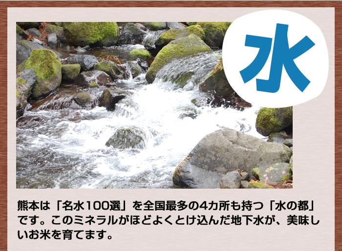 熊本は名水100選を全国最多の4か所も持つ「水の都」です。この地下水が美味しいお米を育てます。