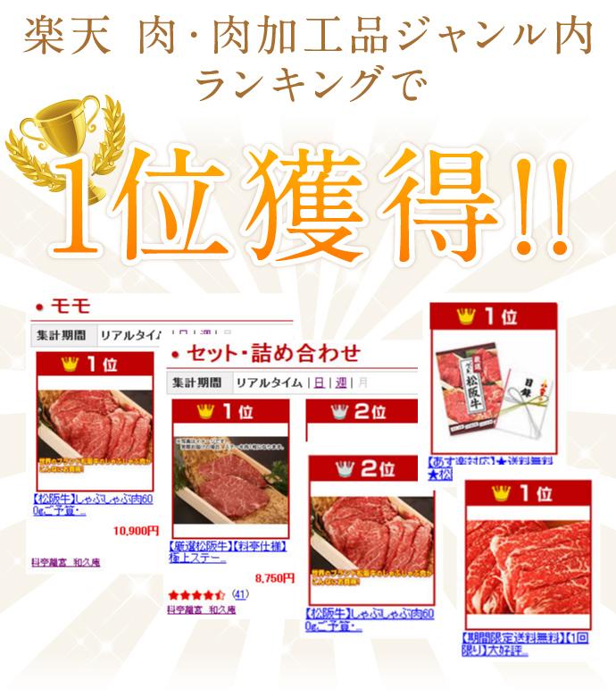 楽天 肉・肉加工品ジャンル内1位獲得!