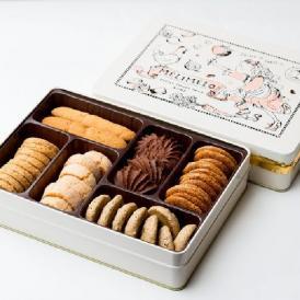 かわいいメリメロちゃんのセレクトクッキー缶の詰め合わせ。6種類のサブレが入っています。