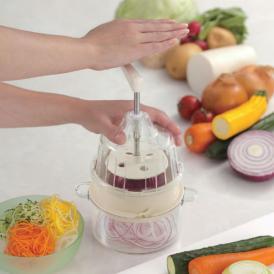 野菜がスパイラルに薄く、または麺状に削れます。