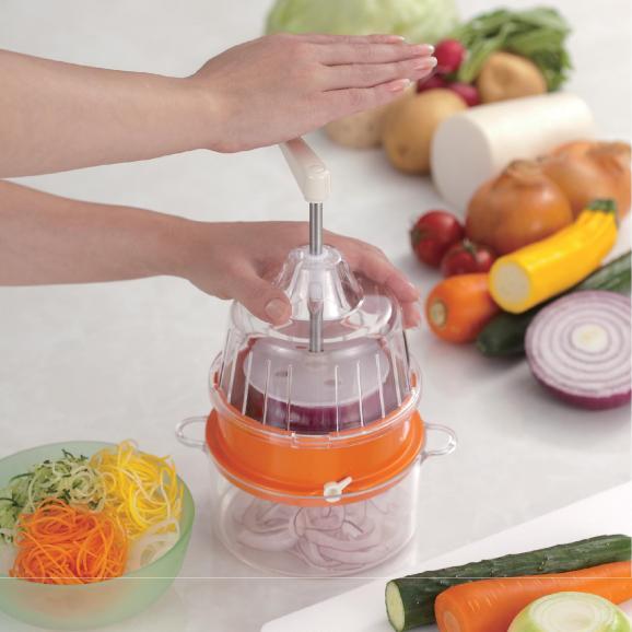 回転式野菜調理器 Clulu 【オレンジ色】01