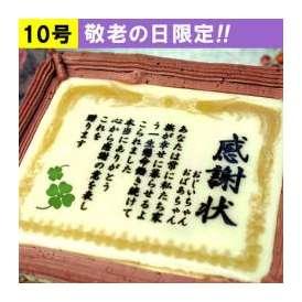 ケーキで感謝状 10号サイズ 送料無料 メッセージお菓子