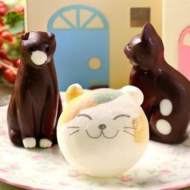 お絵かきマカロン動物っこ & ねこチョコレート 合計3個セット お家のギフト箱入り