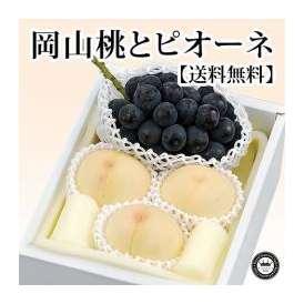 岡山白桃(はくとう モモ) とニューピオーネぶどう(葡萄)セット 岡山県産 化粧箱入り 送料無料