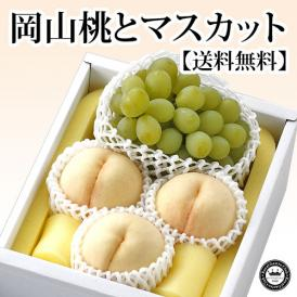 岡山白桃(はくとう モモ) とマスカットぶどう(葡萄)セット 岡山県産 化粧箱入り 送料無料