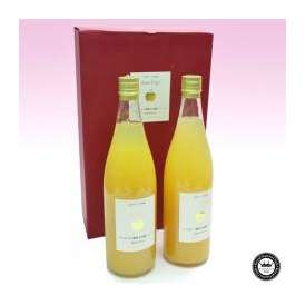 サンふじりんご(林檎) ストレート果汁ジュース すりおろし粒入り 720mlボトル×2本 長野県産 化粧箱入り 送料無料