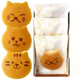ねこのお菓子 どらネコ 3個入り 小豆餡 ギフト仕様 (猫 動物 どら焼き ドラ焼き どらやき 和菓子)