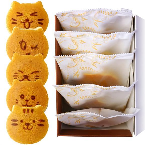 ねこのお菓子 どらネコ 5個入り 小豆餡 ギフト仕様 (猫 動物 どら焼き ドラ焼き どらやき 和菓子)01