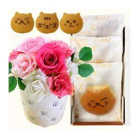 母の日 ねこのお菓子 どらネコ 猫どら焼き 3個 プリザーブドフラワー 花・和菓子 送料無料