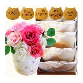 ねこのお菓子 どらネコ 猫どら焼き 5個 プリザーブドフラワー花・和菓子 送料無料
