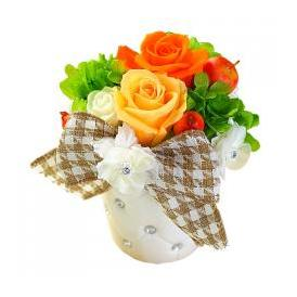 プリザーブドフラワー オレンジ 手さげ袋 送料無料 (プリザ242【オレンジ】)