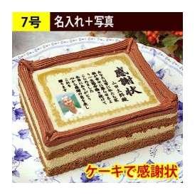 ケーキで感謝状 名入れ+写真入り 7号サイズ 送料無料