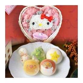 ハローキティのプリザーブドフラワーとクリスマスお絵かきマカロン 動物っこ お菓子と魔法のお花 短納期(たんのうき)