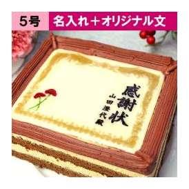 母の日 ケーキで感謝状(カーネーション) オリジナル文と名入れ 5号サイズ メッセージお菓子