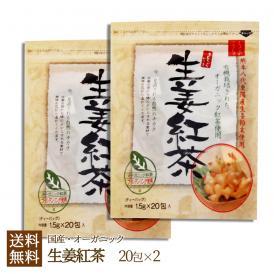 国産生姜紅茶1.5g×20包×2個セット!熊本八代東陽産生姜使用ティーパック!紅茶ゴールデンリング使用のしょうが紅茶!