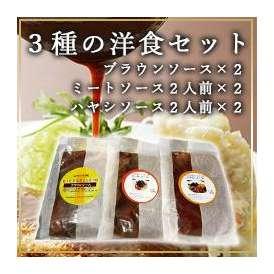 3種の洋食セット ブラウンソース×2、ミートソース2人前×2、ハヤシソース2人前×2