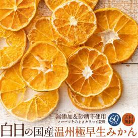 ドライフルーツ 白日の国産温州極早生みかん 60g 無添加 砂糖不使用 愛媛県産 送料無料 ドライみかん