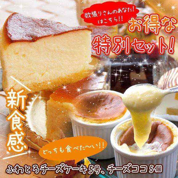 濃厚ふわとろチーズケーキ【5号(15cm)】+・あったか新食感チーズココ5個セット01