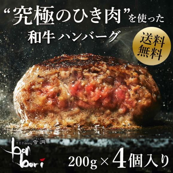 【送料無料(本州)】お試しセット 究極のひき肉で作る 濃厚 牛100% ハンバーグステーキ 200g×4個入り (プレーン200g)01