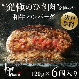 【送料無料(本州)】お試しセット 究極のひき肉で作る 濃厚 牛100% ハンバーグステーキ 120g×6個入り (プレーン120g)
