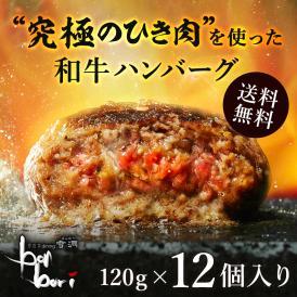 【送料無料(本州)】究極のひき肉で作る 濃厚 牛100% ハンバーグステーキ 120g×12個入り (プレーン120g)