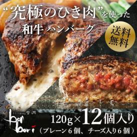【送料無料(本州)】ミックスセット!!究極のひき肉で作る 濃厚 牛100% ハンバーク 贅沢チーズ&プレーン12個セット!(120g×6個×2種)