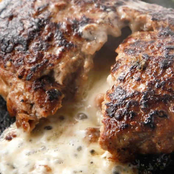 【送料無料(本州)】ミックスセット!!究極のひき肉で作る 濃厚 牛100% ハンバーク 贅沢チーズ&プレーン12個セット!(120g×6個×2種)02