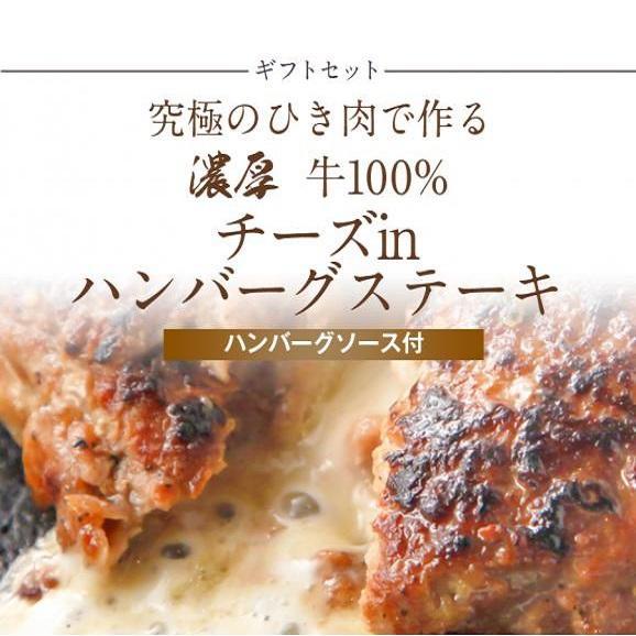 【新ギフトセット】究極のひき肉で作る 濃厚 牛100% チーズinハンバーグステーキ 120g×6個入り (チーズ入り120g)01