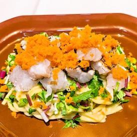 炙り鱧とたっぷりカラスミの冷製キタッラ 根セロリのソース 4食セット