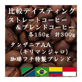 比較テイスティングセット ストレートコーヒー&ブレンドコーヒー タンザニアAA(キリマンジャロ) 珈琲フチ特製 ブレンド 150g+150g レギュラーコーヒー コーヒー コーヒー豆 送料無料