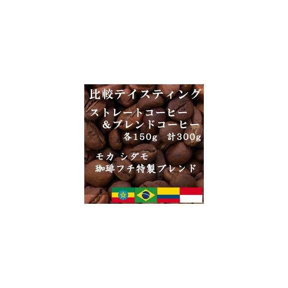 比較テイスティングセット ストレートコーヒー&ブレンドコーヒー モカ シダモ G2 珈琲フチ特製 ブレンド 150g+150g レギュラーコーヒー コーヒー コーヒー豆 送料無料01