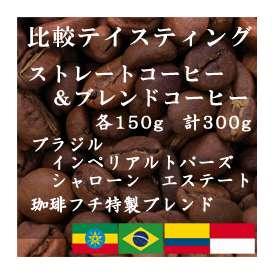 比較テイスティングセット ストレートコーヒー&ブレンドコーヒー ブラジルインペリアル トパーズ シャローン エステート 珈琲フチ特製ブレンド 150g+150g/レギュラーコーヒー/コーヒー/コーヒー