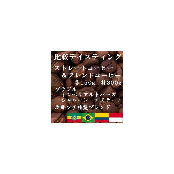 比較テイスティングセット ストレートコーヒー&ブレンドコーヒー ブラジルインペリアル トパーズ シャローン エステート 珈琲フチ特製ブレンド 150g+150g/レギュラーコーヒー/コーヒー/コーヒー01