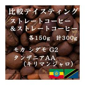 比較テイスティングセット ストレートコーヒー& ストレートコーヒー モカ シダモ G2 タンザニアAA(キリマンジャロ) 150g+150g レギュラーコーヒー コーヒー コーヒー豆 送料無料