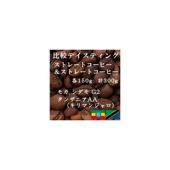 比較テイスティングセット ストレートコーヒー& ストレートコーヒー モカ シダモ G2 タンザニアAA(キリマンジャロ) 150g+150g レギュラーコーヒー コーヒー コーヒー豆 送料無料01