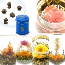 花咲くお茶 アソート缶入りギフトGreeting(クロイソス工芸茶)(オーガンジー付き)