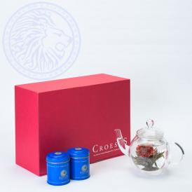 ~花咲くお茶~工藝銘茶アソート2缶(10珠)+丸ポット付きギフト