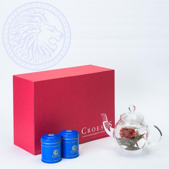 きれいなお花の咲くお茶 工藝銘茶アソート2缶+丸ポット付きギフト(クロイソス工芸茶)01