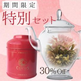 好評につき完売いたしました! ありがとうございました。【限定特別セット】アリエルポット&康藝銘茶[3種] スカーレット缶 工芸茶