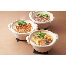 薄味のなかにコクと旨みのあるお出汁が自慢。冬に人気の【鍋焼きうどん・穴子鍋・鴨鍋】3種の鍋焼きセット