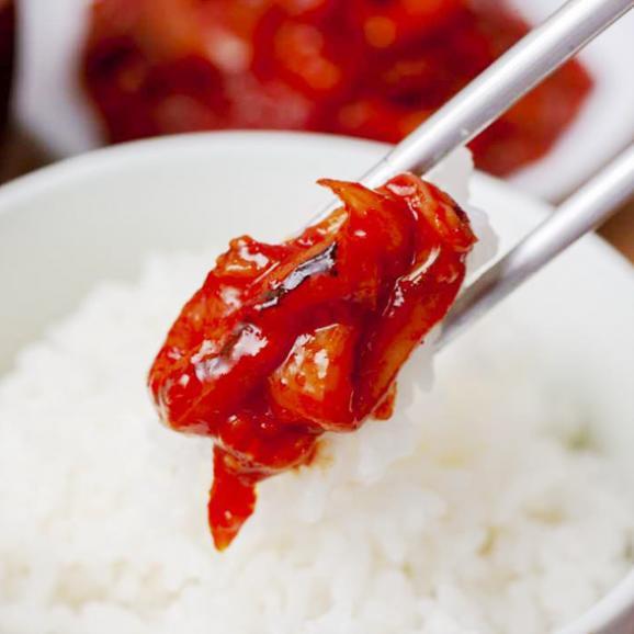 【1日20個限定】【新鮮なイカに麹を加えた薬念(ヤンニョム)で漬けたコクと旨みが人気のキムチ】*伝統の約束* いかキムチ 300g02