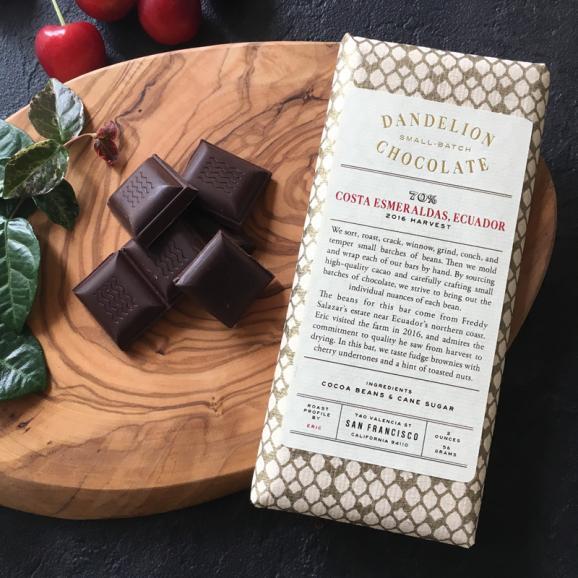 ダンデライオン・チョコレート コスタ・エスメラルダス, エクアドル 70%(カカオ70%)01
