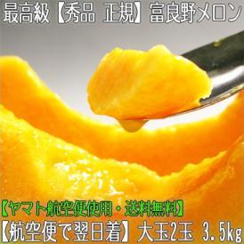 北海道産 富良野メロン 大玉 2玉 計3.5kg(北海道メロン 富良野農協 正規 秀品)気品ある香り、芳醇な甘みの果肉。ギフトにも大好評、高評価ありがとうございます!