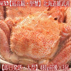 毛ガニ 北海道 雄武産(大型)480g前後×3尾(北海道産 ボイル済み 最高級)甘い蟹身 濃厚な蟹味噌は絶品。ギフトに大好評、高評価ありがとうございます!