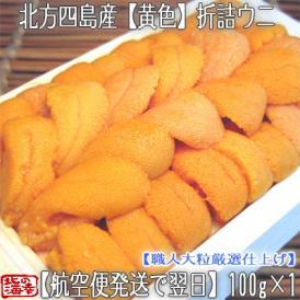 ウニ 北海道(折詰)生エゾバフンウニ(黄色)100g (北方四島産 うに)濃厚さが分かる職人技の折うに。ギフトにも大好評です、高評価ありがとうございます!