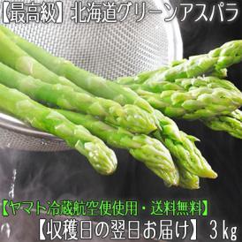 北海道産 アスパラガス グリーンアスパラ 3kg (1kg×3 最高級 2L〜M)北海道から航空便で翌日お届け高鮮度、ギフトにも大好評、高評価ありがとうございます!