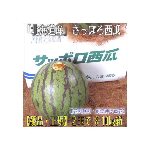 北海道産 スイカ さっぽろ西瓜 2玉で 8-10kg箱(最高級 大玉 優品 サッポロスイカ)赤く瑞々しい上品な甘味!ギフトにも大好評、高評価ありがとうございます!01